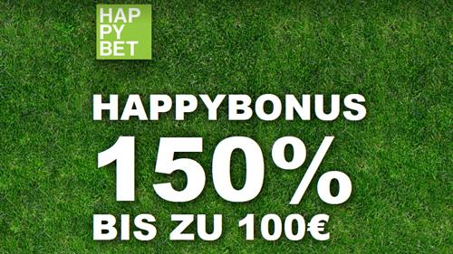 Happybet 150% Bonus bis 100 €