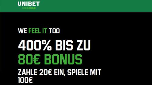 Unibet 400% Bonus bis 80 €